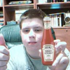 Posing with my ketchup.