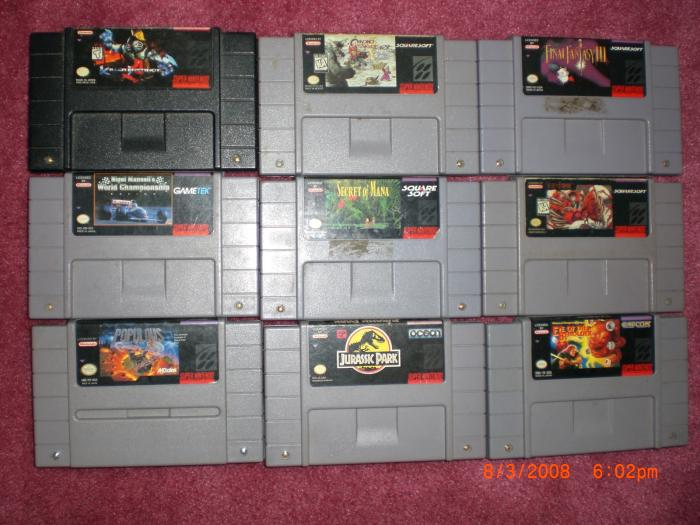 Top: Killer Instinct, Chrono Trigger, Final Fantasy III Middle: Nigel Mansell