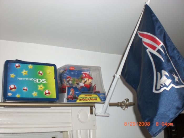 Nintendo DS Star Lunch Box Starter Kit, Mario Kart Remote Control Car, and The New England Patriots Flag