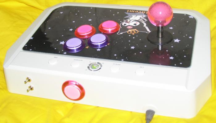 Kuromi stick back. Toggle switches for trigger buttons and Start button on back