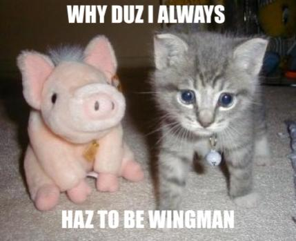 Being a wingman is rough...
