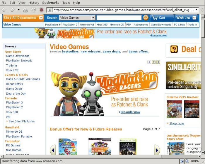 Amazon video game page showing ModNation Racers Ratchet & Clank preorder bonus as of Monday May 24th at 1:30 PM PDT.