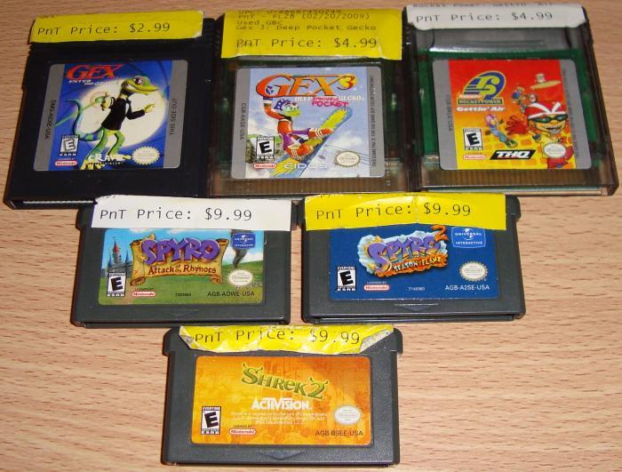 Gex Enter The Gecko Gameboy 0 90 Gex 3 Deep Pockey Gecko Gameboy Color 1 50 Rocket Power Gettin Air Gameboy Color 1 50 Shrek 2 Gba 3 00 Spyro Attack Of The Rhynocs 3 00 Spyro
