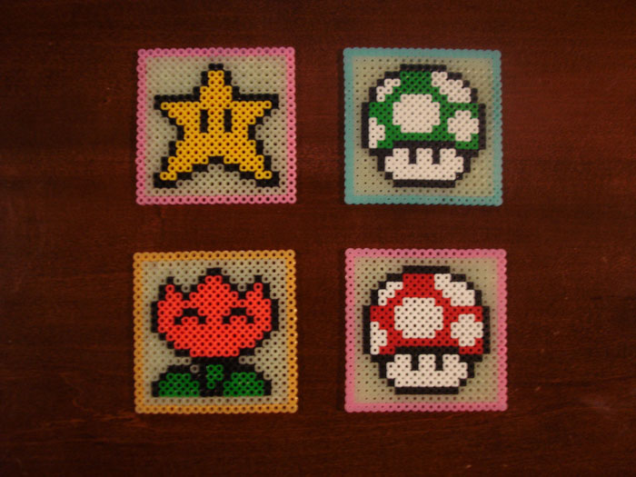 Super Mario Brothers Glow-in-the-dark coasters. I got the idea off of a post on Joystiq a few years back and put my own spin on it. My only other project that I made.