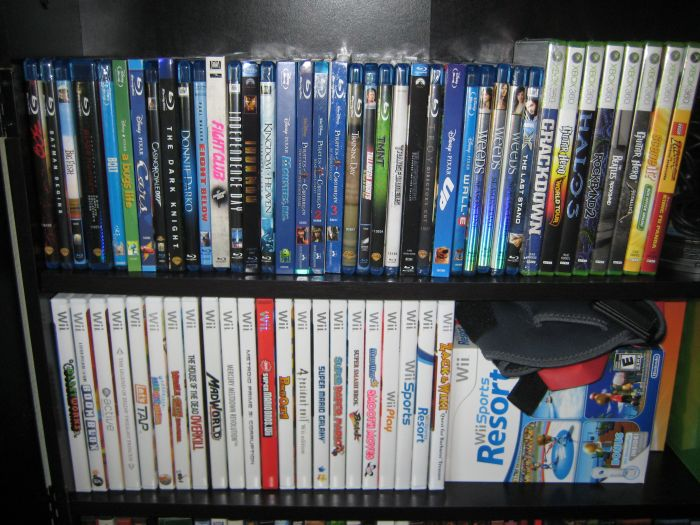 Wii Games and stuff.  I keep the Music and family 360 games downstairs as well.