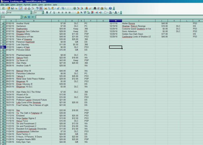 Game Database Through Dec