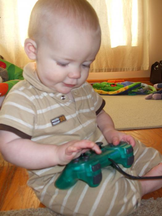 Working that analog stick at 10 mos old