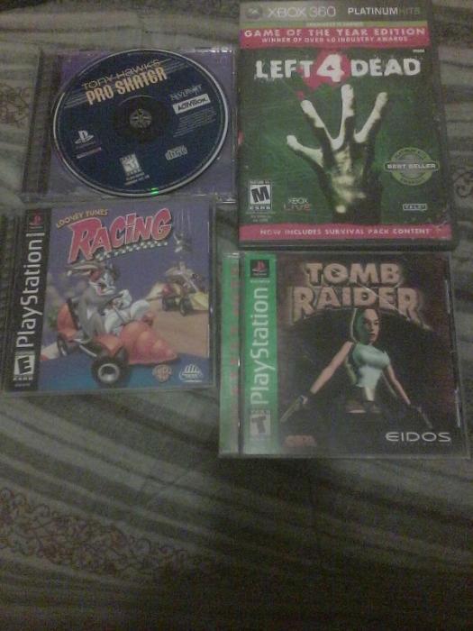tony hawk 1, Looney Tunes Racing, Tomb Raider and Left 4 dead