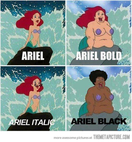 funny Ariel little mermaid fat black