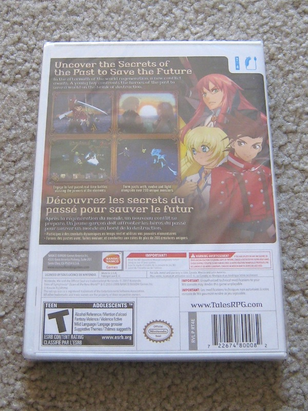 Tales of Symphonia: Dawn of the New World - back