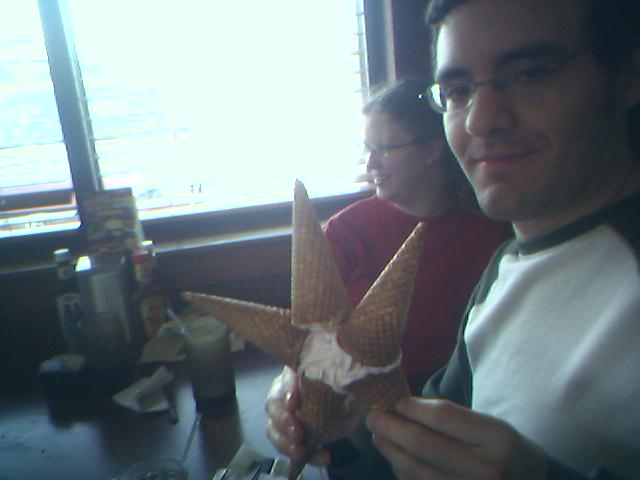 Nobody makes ice cream cones better than me! (Fairly old.)
