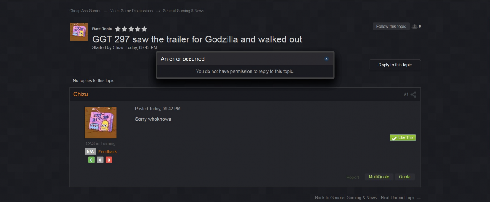 GGT 297 Saw The trailer For Godzilla And walked Out