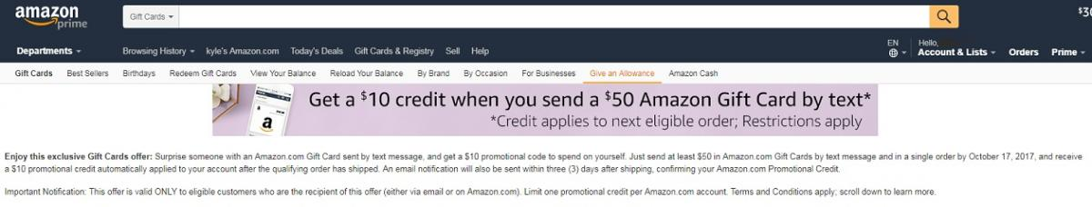 Amazon: send a $50 gift card by text, receive $10 promo credit ...