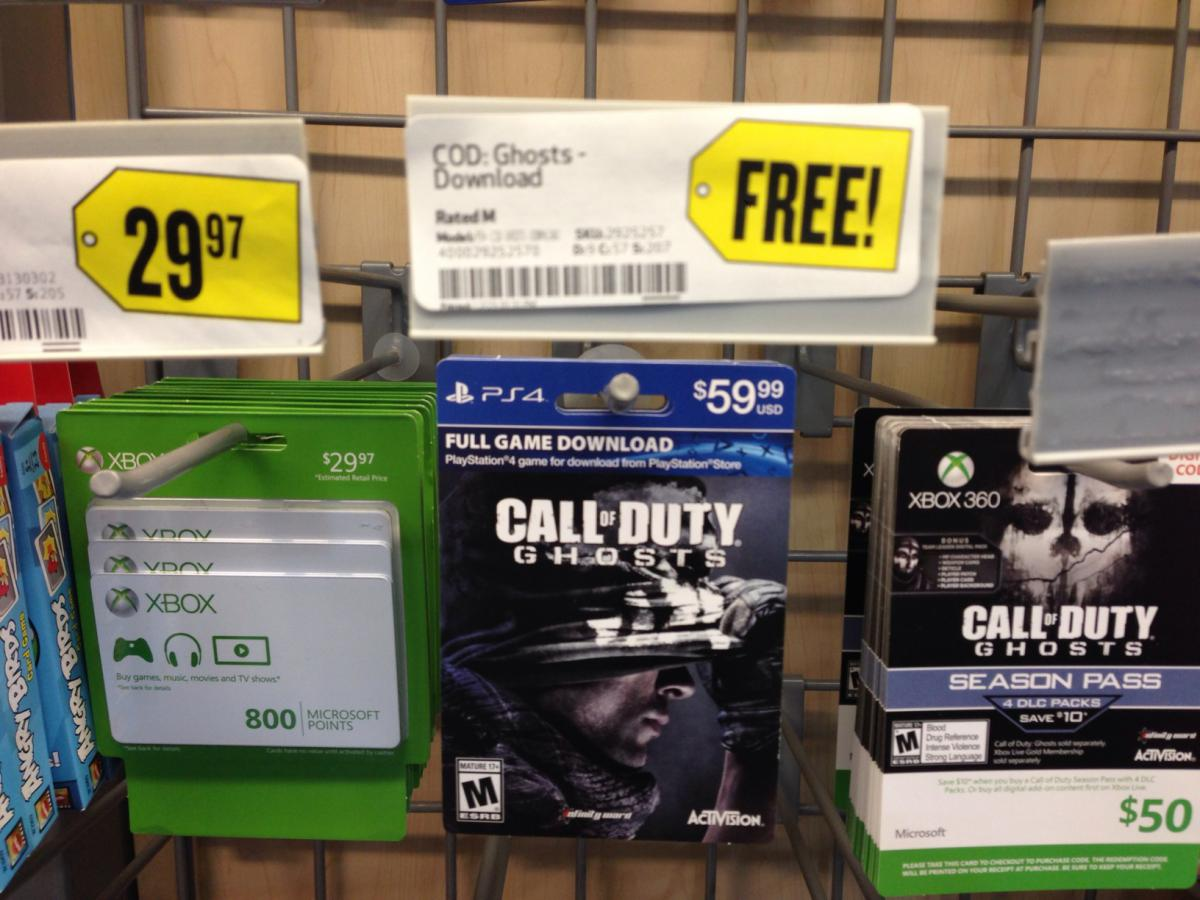 Call of Duty: Ghosts Game & Season Pass (PS4) download cards
