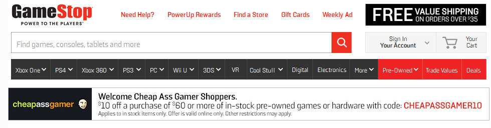 10 off $60 Pre-owned Purchase at GameStop com with coupon