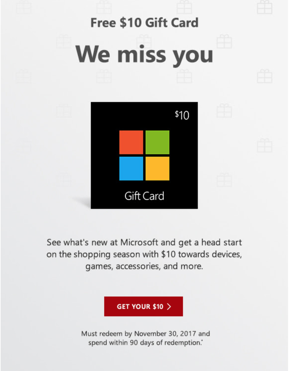 Check your email! Free $10 Microsoft gift card. YMMV. - Video Game ...