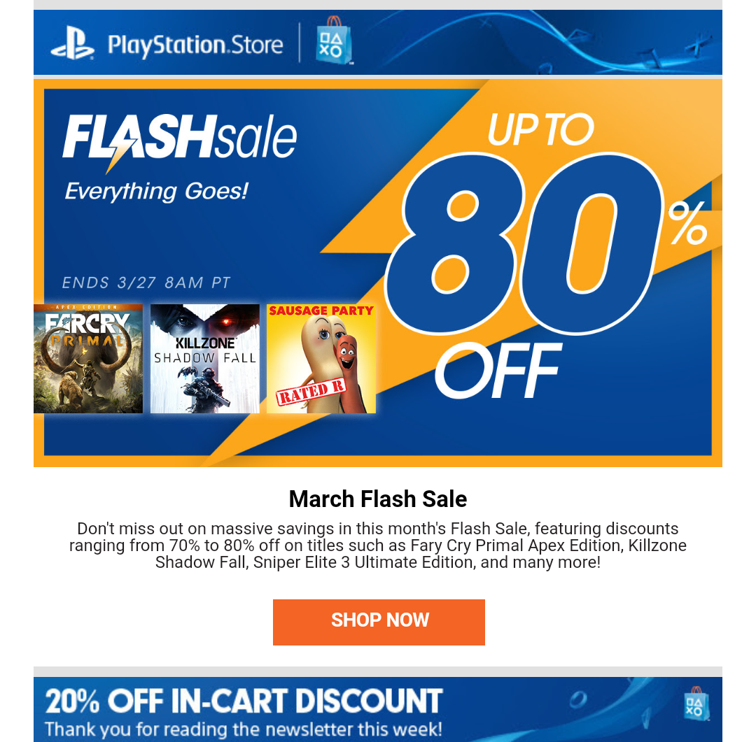 PlayStation Store Promo Codes go to settlements-cause.ml Total 20 active settlements-cause.ml Promotion Codes & Deals are listed and the latest one is updated on November 29, ; 3 coupons and 17 deals which offer up to 79% Off, Free Gift and extra discount, make sure to use one of them when you're shopping for settlements-cause.ml