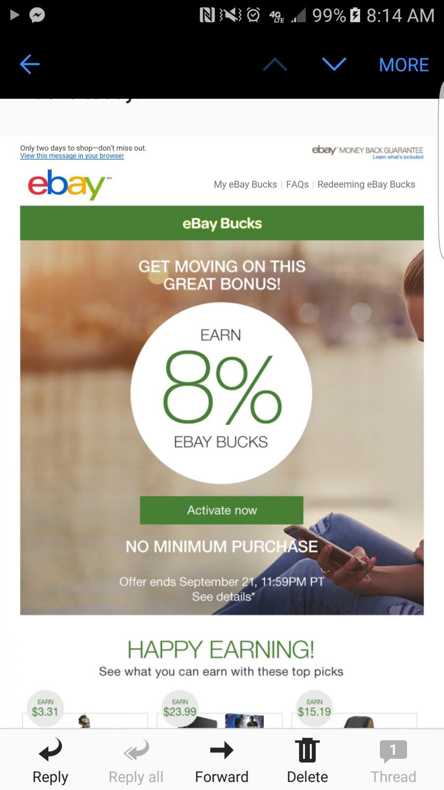 8 Ebay Bucks No Minimum Purchase Necessary Deal Graveyard Cheap