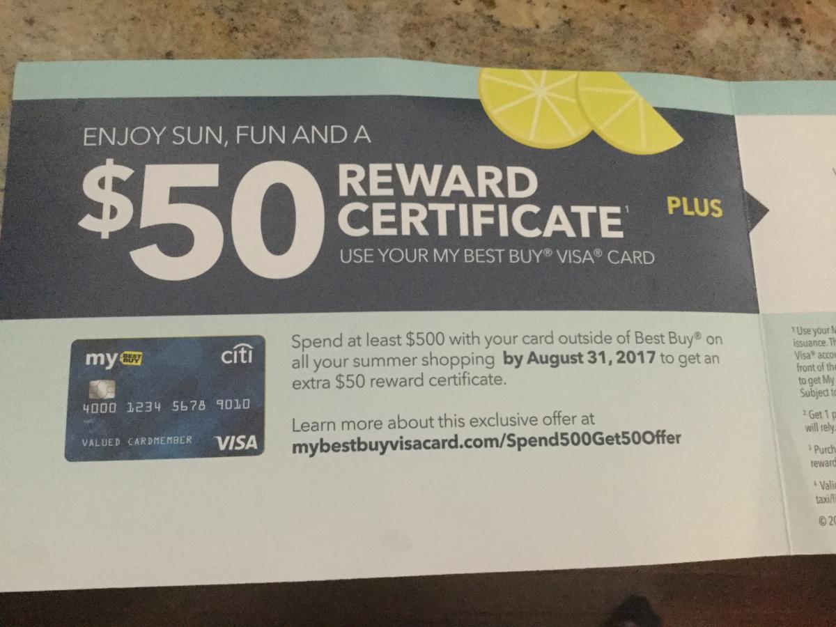 Best Buy VISA - spend $500 outside of BB, get a $50 Reward Cert ...